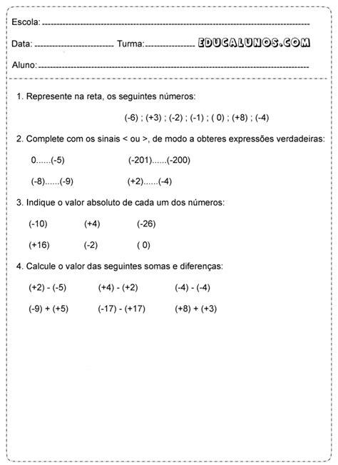 Atividades de matemática 6° ano fundamental - Atividades