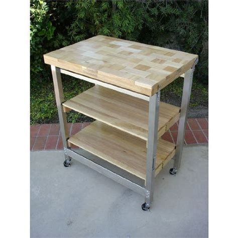 Folding Kitchen Island Work Table Deluxe Flip Fold Butcher Block Island Large Work Surface Stainless Steel Frame Ebay
