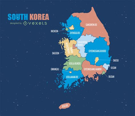south korea colored administrative map vector