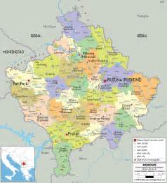 detailed political map of kosovo ezilon maps