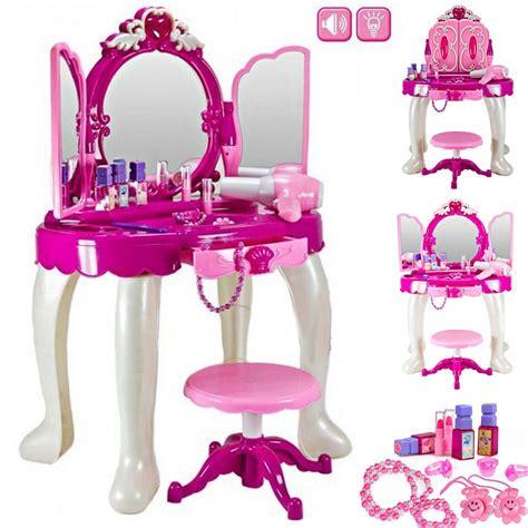 vanity set girls makeup dressing table stool mirror teen large girls glamour mirror toy game dressing table play