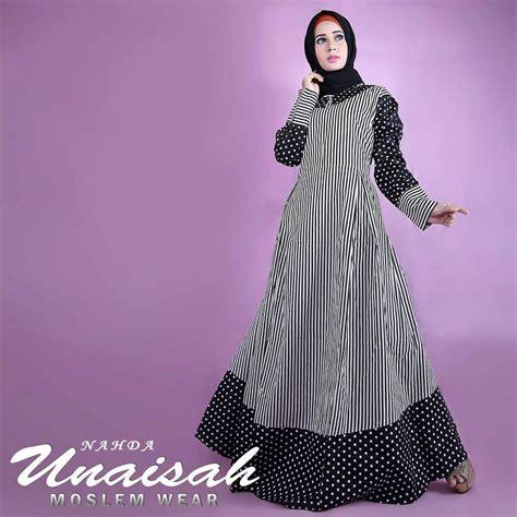 Model Baju Muslim Gamis Terbaru Dan Modern Unaisah Syari nahda black baju muslim gamis modern