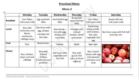 preschool menu template preschool menu junior schoolhouse