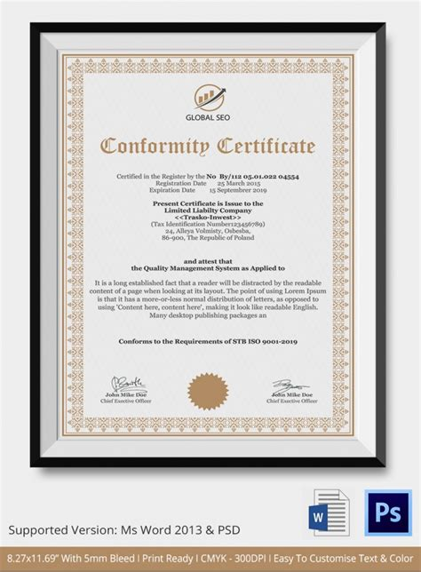 7 conformance certificates psd word designs design