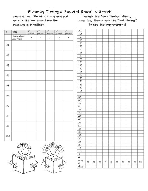 printable graphs for student progress 5 best images of printable fluency charts reading