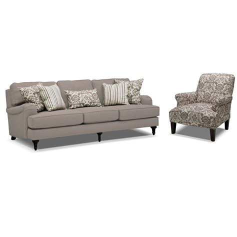 Sofa And Accent Chair Set Candice Accent Chair Gray And Value City Furniture