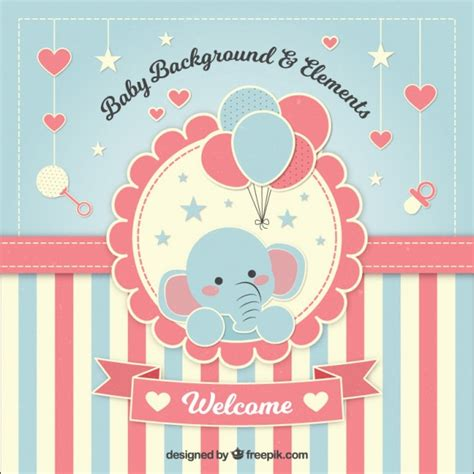 template baby shower vector lovely baby shower background with an elephant vector