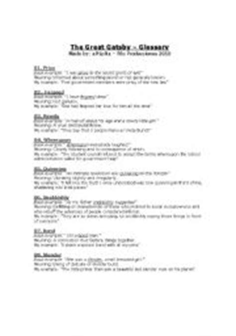 The Great Gatsby Character Worksheet Answers by The Great Gatsby Worksheets Worksheets Releaseboard Free
