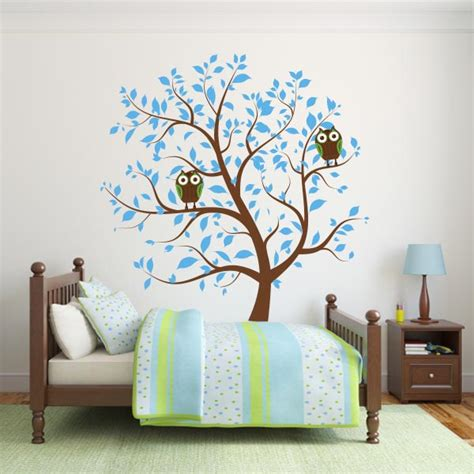 Blue Nursery Tree With Owls Wall Decal Wall Decal World Nursery Tree Wall Decal