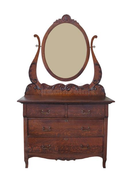 victorian dresser with oval mirror antique dresser with mirror isolated stock image image