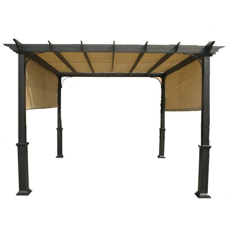Metal Pergola Lowes Shop Garden Treasures Matte Black Steel Freestanding