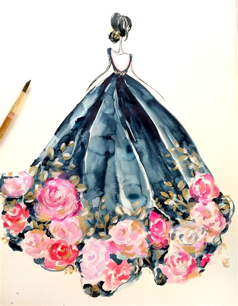 fashion illustration gown happy friday everyone here is a time lapse of a fashion