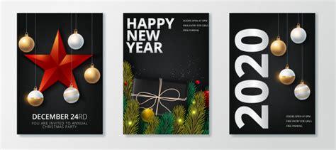 happy  year   merry christmas greeting card set vector premium