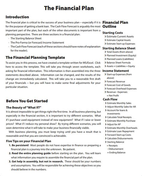 financial plan template financial business plan templates 8 free premium word