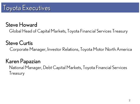 Toyota Investor Relations Toyota Executives Steve Howard Global Of Capital