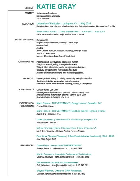 What Is A Resume For Jobs by Resume Katie Gray Archinect
