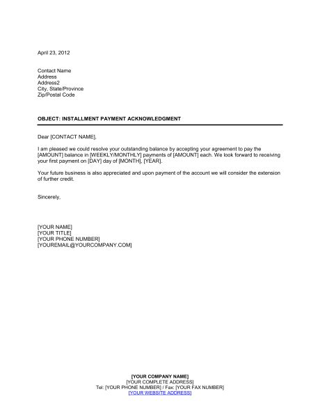 simple payment agreement template installment payment acknowledgment template sle
