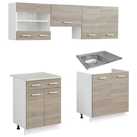 Pcs Cabinets by Gray Oak Look Kitchen Cabinet Unit 5 Pcs With Sink 80 X 60