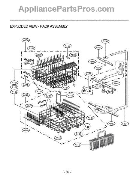lg dishwasher parts diagram lg 4975ed2005a guide assembly appliancepartspros