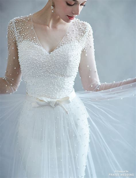 pearl color wedding dress this pearl embellished wedding dress from co is