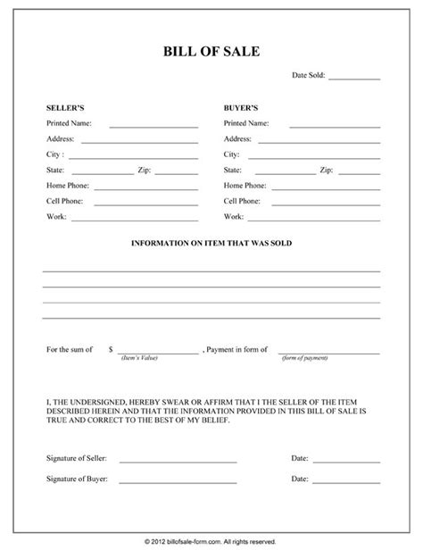 bill of sale form free printable bill of sale form form generic