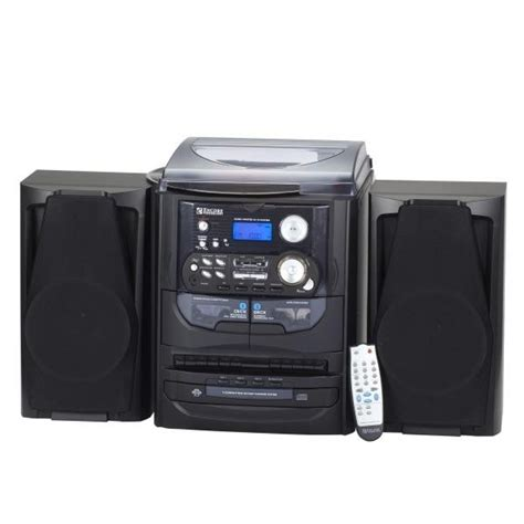 dual cassette home stereo with turntable and headphones