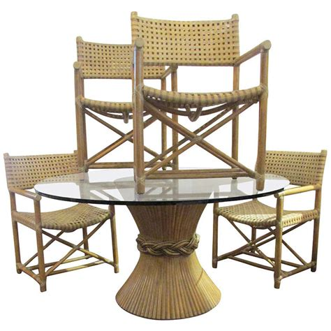 mcguire rattan dining table and six armchairs at 1stdibs