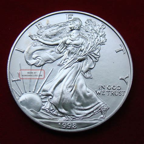 1 oz liberty eagle silver 999 1998 silver dollar coin 1 troy oz american eagle walking