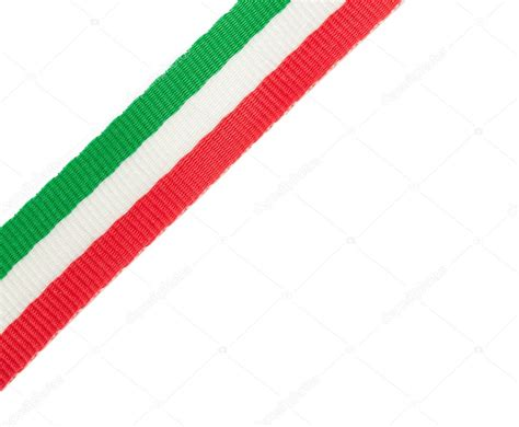tri color tricolor ribbon of the italian flag placed in the corner