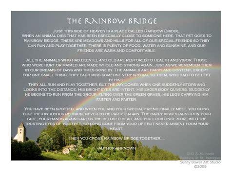 printable version of the rainbow bridge poem rainbow bridge poem printable 5x7 quotes