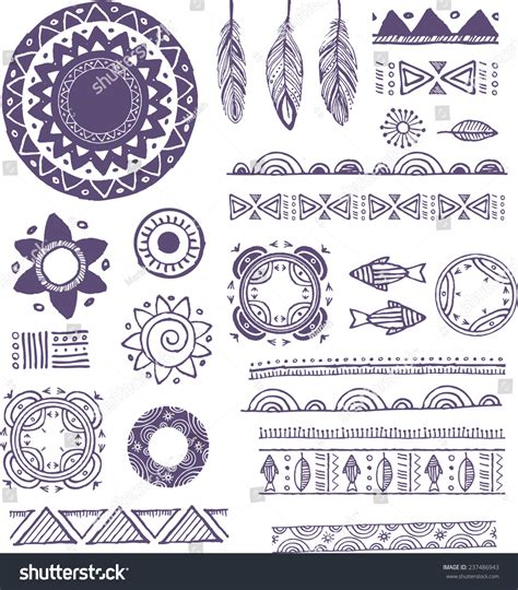 boho pattern drawing tribal boho bohemian mandala background round stock vector