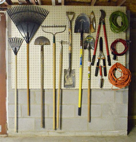 organizing garden tools in garage organizing tools with a pegboard nails with glass jars