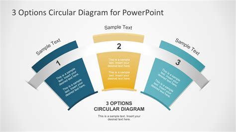 powerpoint design options 3 options circular fan diagram for powerpoint template