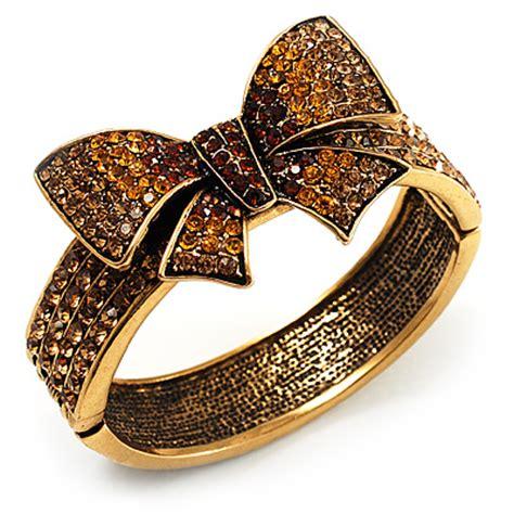Bow Gemstone Bangle swarovski antique gold tone bow hinged bangle
