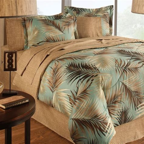 Palm Tree Bedding Sets New Bed A In Bag Jungle Green Sand Floral Print Palm Trees Comforter Set New Beds Sand