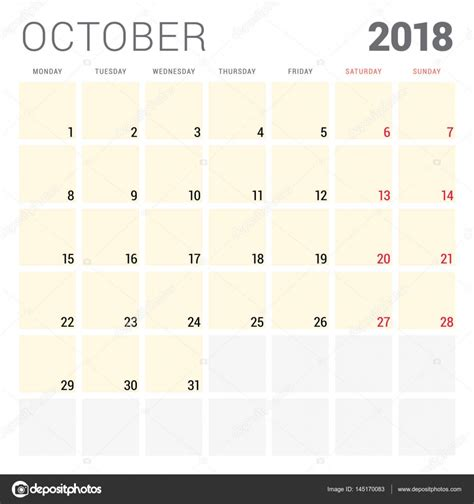 calendar 2018 year vector design stationery stock vector 2018 calendar planner vector design template october