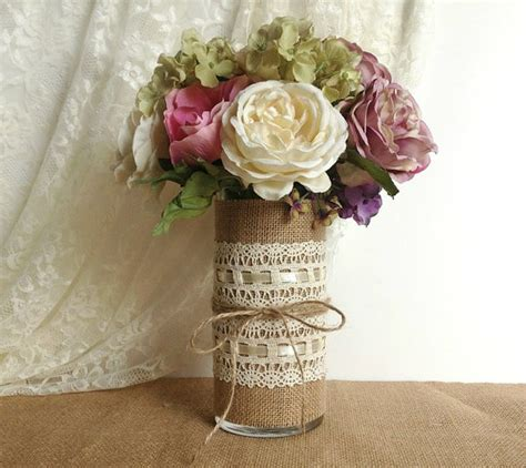 Vase Decorations For Weddings by Burlap And Lace Covered Glass Vase Wedding Decoration By