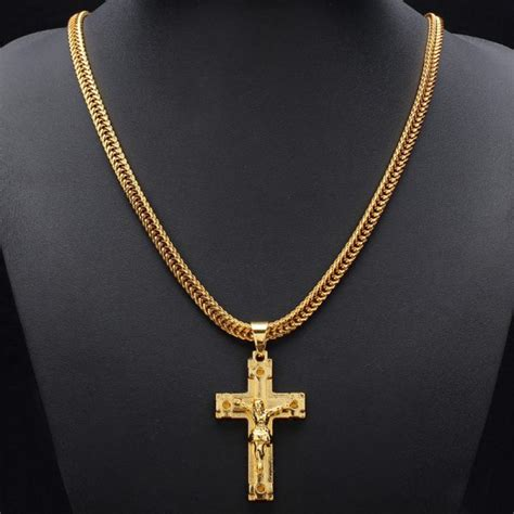 Cross Chain Necklace buy gold plated jesus cross pendant metal chain