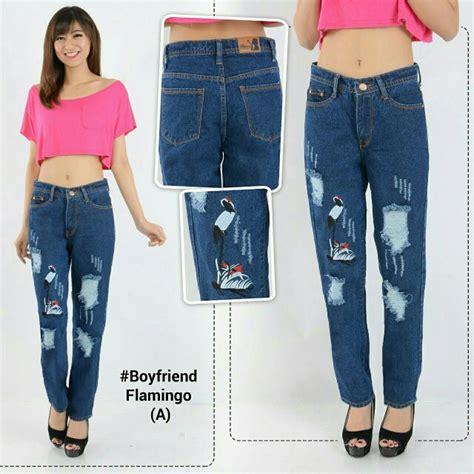 Celana Boyfriend Untuk 3 warna celana wanita boyfriend flaminggo celana bordir preloved fesyen wanita