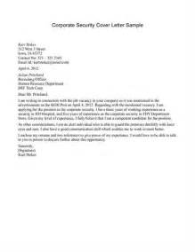 security cover letters corporate security cover letter sle