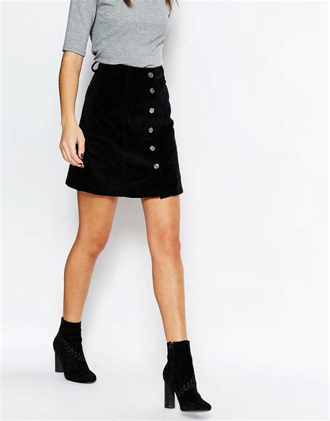 new look new look cord button a line skirt at asos