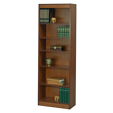 safco workspace wood veneer baby bookcase 6 shelves cherry