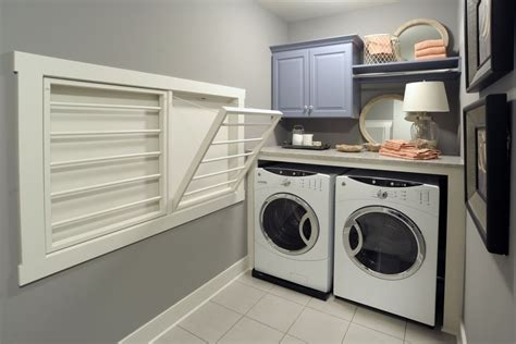 Wall Mount Clothes Drying Rack Laundry Room Traditional Built In Wall Laundry