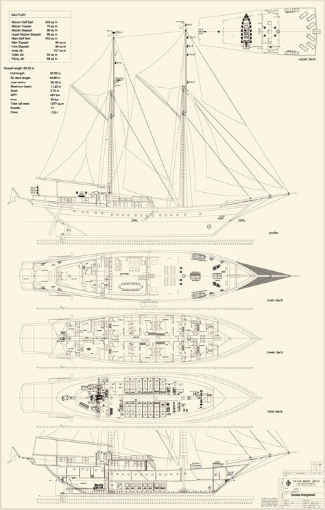 sailing yacht layout plans deck plan layout lamima indonesia yacht charter
