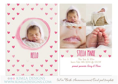 photoshop template for baby birth announcement card bieronim