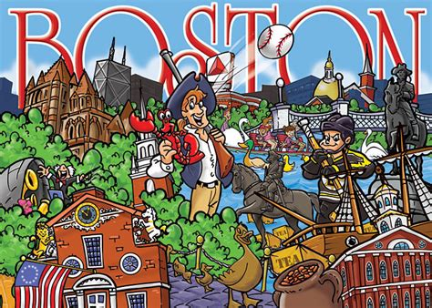 boston souvenir puzzle cartoon illustration illustration