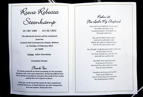 funeral news at need credit payment plans for funeral reeva steenk funeral memorial card zimbio
