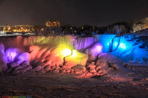 niagara falls at night frozen niagara falls cascades rainbow at night