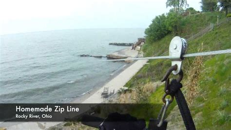 how to make a zip line in your backyard homemade zip line into lake erie youtube