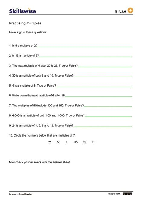 Multiples And Factors Worksheets by Practising Multiples